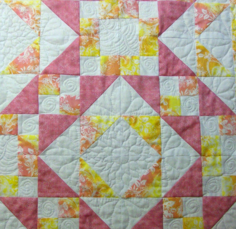 Quilting Blog showing four blocks sewn together of the Steps to the Alter quilt block from