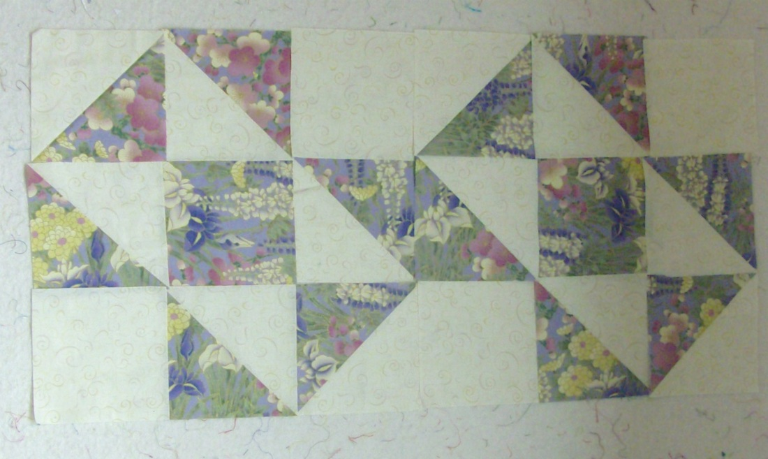 Split Nine Patch Quilt Block, two blocks together