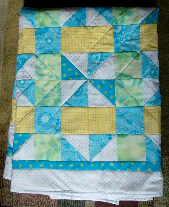 A Taste of Spring Lap quilt showing diagonal quilting