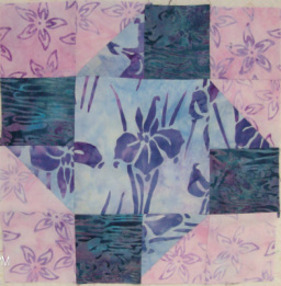 Paper pinwheels quilt block from Around the Block with Judy Hopkins sewn by Homesewn by Carolyn