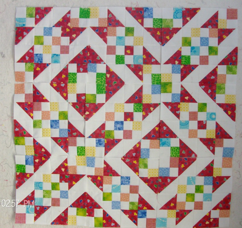 Full design of sunny lanes quilt block made by Homesewn by Carolyn