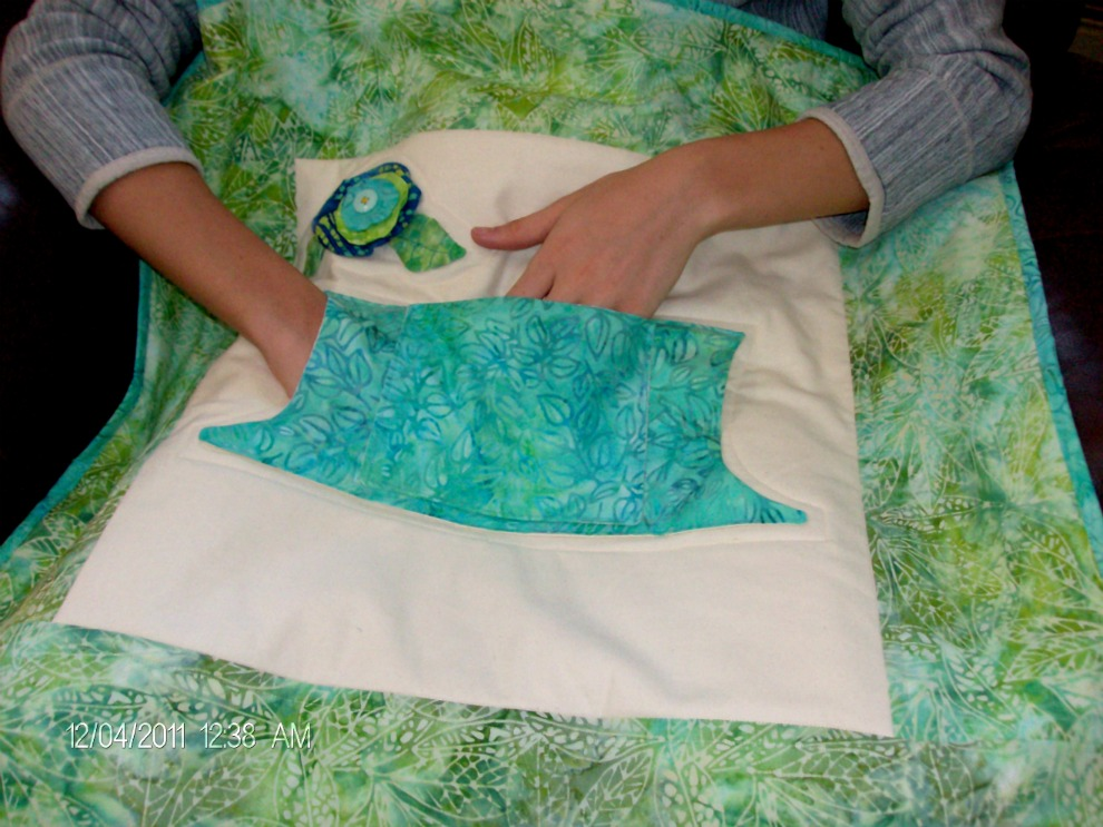 Batik Lap Quilt with Pockets by Home Sewn by Carolyn