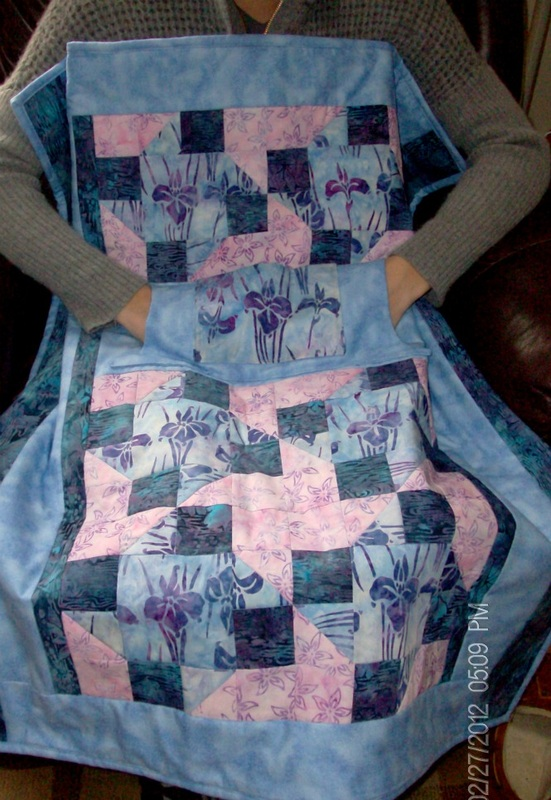 Iris Lovie Lap Quilt with Pockets.