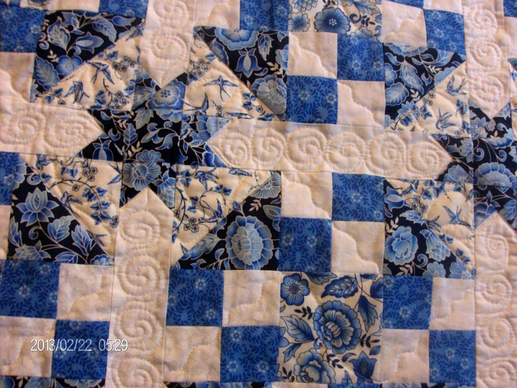 Blogging about the true blue quilt block and the finished product.