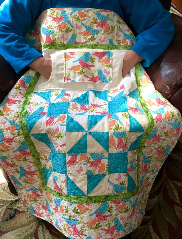 Mother's Day Lovie Lap Quilt with Pockets from http://www.HomeSewnByCarolyn.com