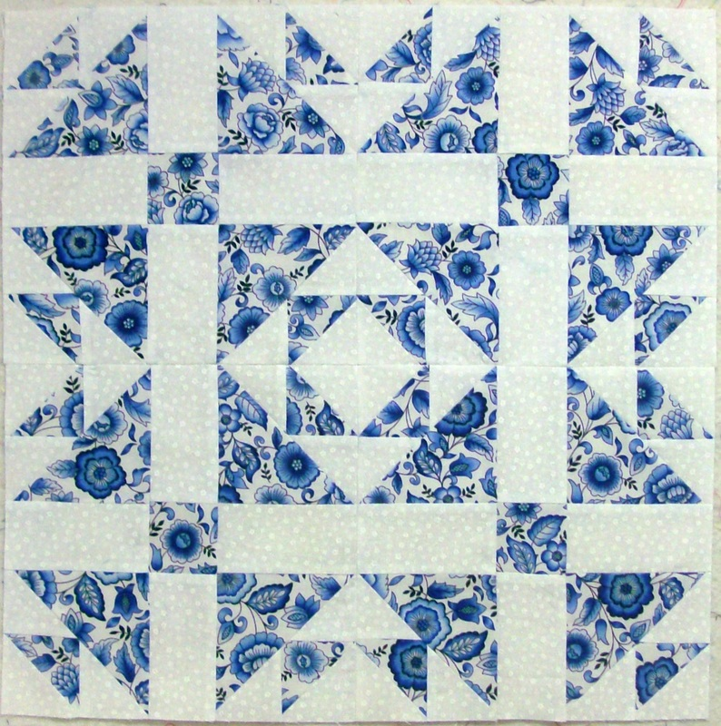 Quilting Blog about a beautful blue and white quilt from Homesewn by Carolyn.