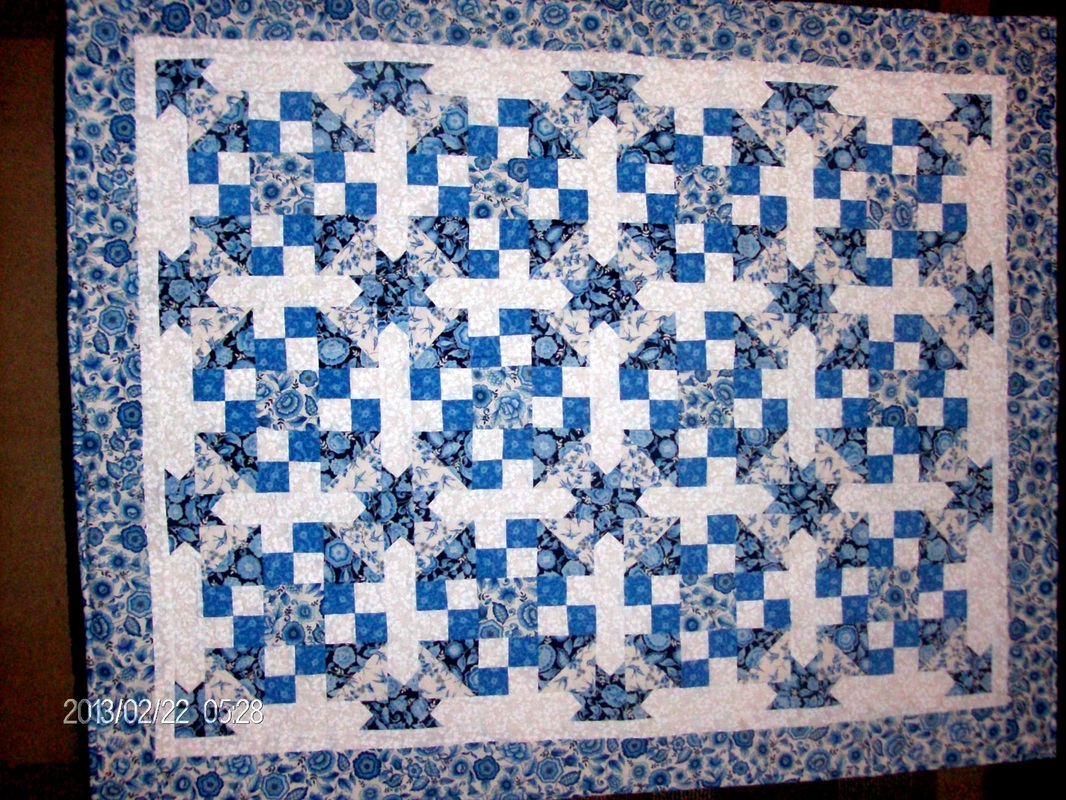 A quilting blog from Homesewn by Carolyn on quilt block number sixty-one, true blue.