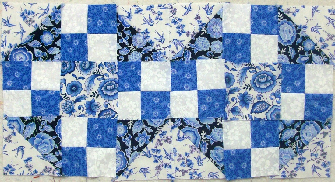 Quilt Blog - third attempt on true blue quilt block.