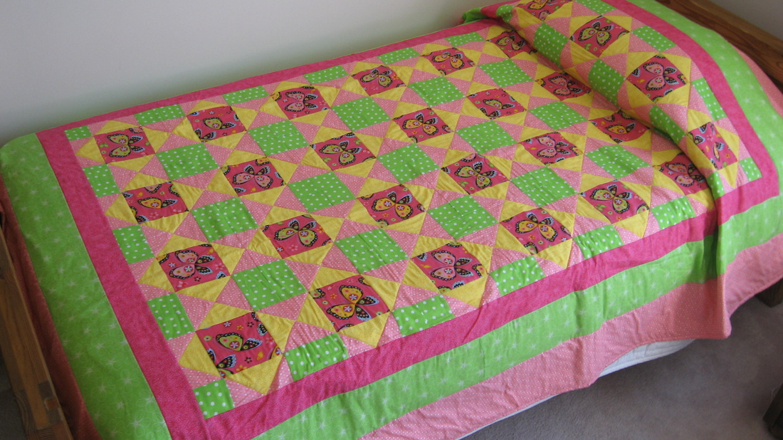 Twin size Butterfly Quilt for sale by Homesewn by Carolyn