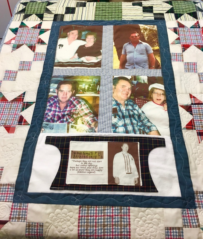 Memory Quilt with pockets from http://www.HomeSewnByCarolyn.com