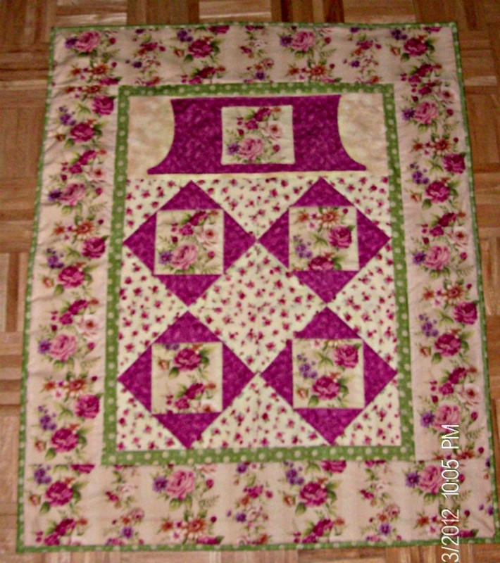 Rose Lovie Lap Quilt with pockets, great for wheelchairs or loved ones in a nursing home.
