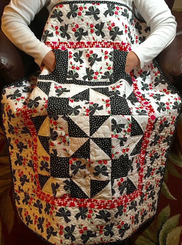 Black Ribbons Lovie Lap Quilt with Pockets from http://www.HomeSewnByCarolyn.com