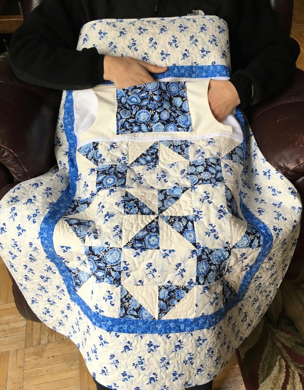 Blue Calico Puzzle Lovie Lap Quilt with Pockets from http://www.HomeSewnByCarolyn.com