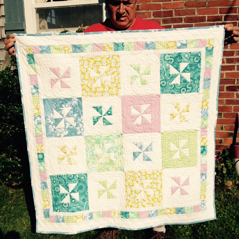 Pastel Pinwheel Baby Quilt from http://www.homesewnbycarolyn.com
