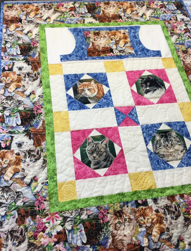 Cat Lovie Lap Quilt with Pockets from http://www.HomeSewnByCarolyn.com