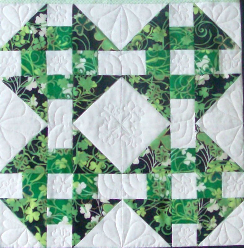 Quilt blog about four squares of the Wrench block.