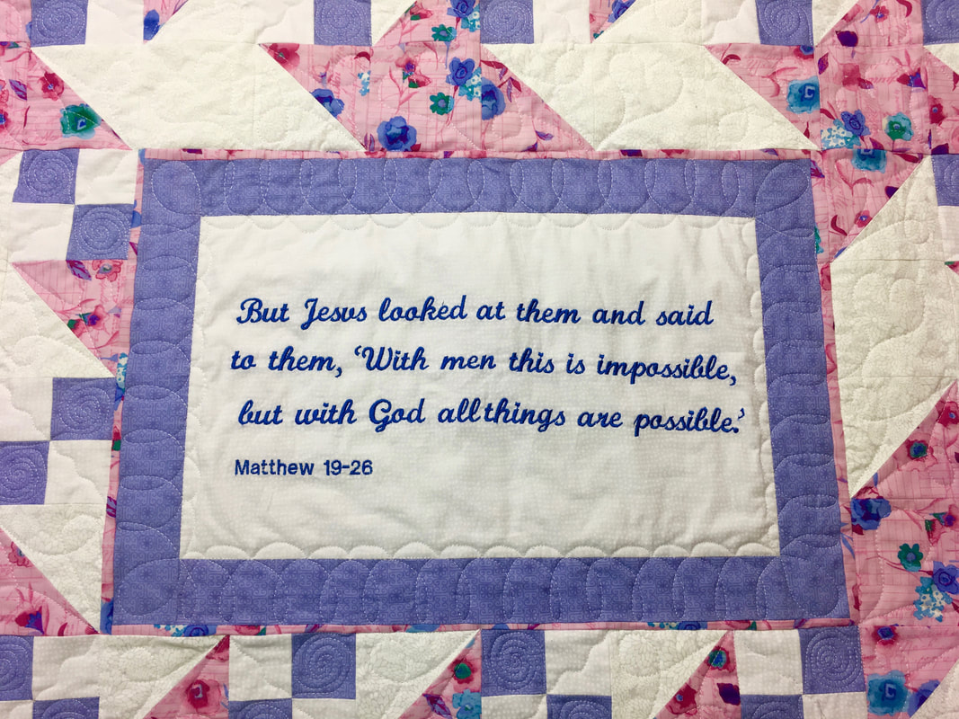Quilt with Bible Verse from http://www.HomeSewnByCarolyn.com