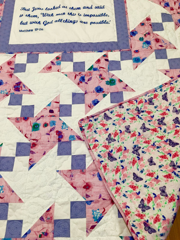 Flannel backing on quilt from http://www.HomeSewnByCarolyn.com