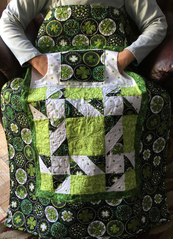 Four Leaf Clover Lovie Lap Quilt from http://www.HomeSewnByCarolyn.com