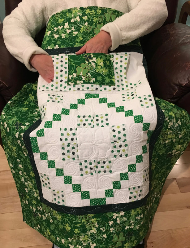 Irish Lovie Lap Quilt with Pockets for sale from http://www.HomeSewnByCarolyn.com