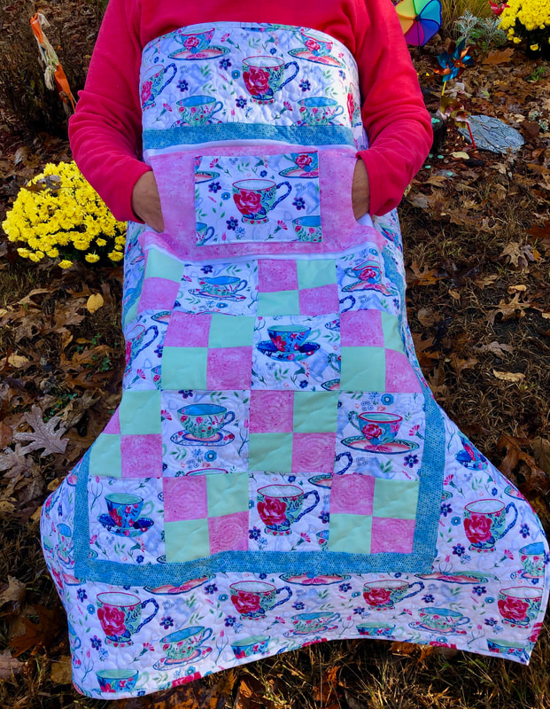Tea Cups Lovie Lap Quilt with Pockets