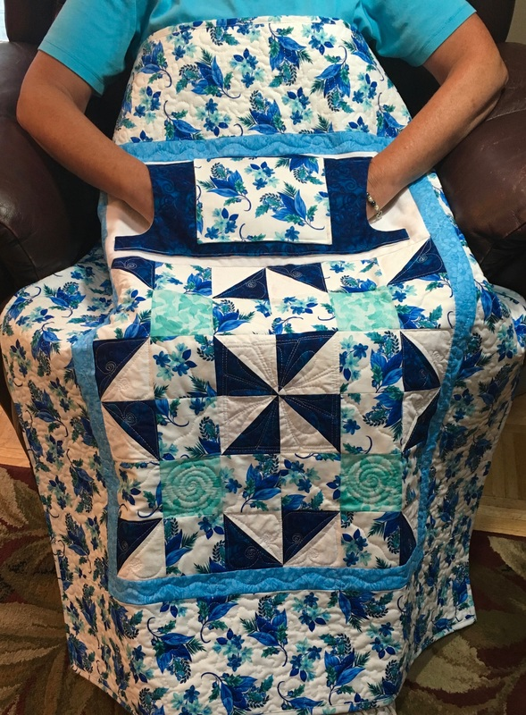 Blue and Teal Floral Lovie Lap Quilt from http://www.HomeSewnByCarolyn.com