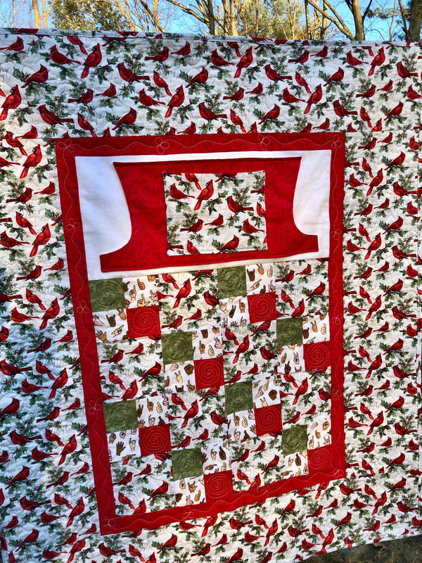 Cardinal Lovie Lap Quilt with Pockets