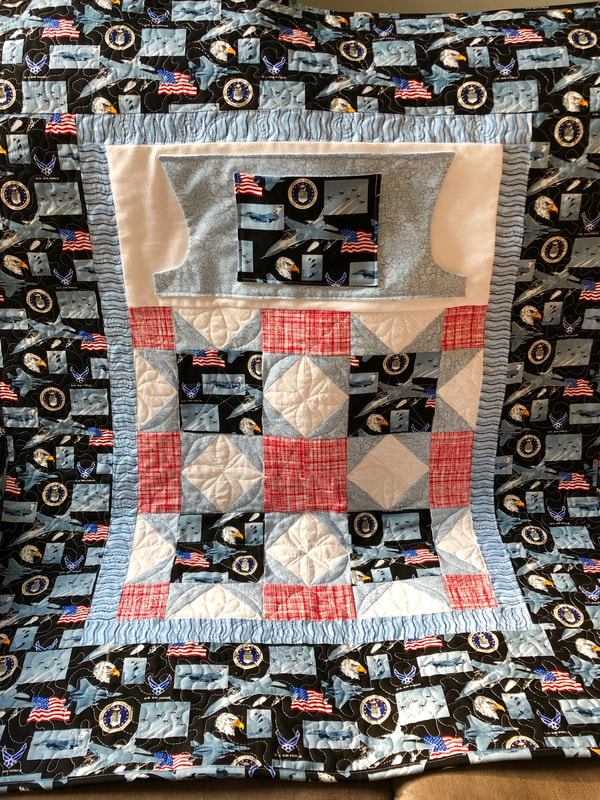 Air Force Lovie Lap Quilt with Pockets from http://www.HomeSewnByCarolyn.com