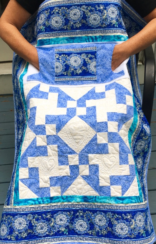 Pretty in Blue Lovie Lap Quilt with Pockets from http://www.HomeSewnByCarolyn.com