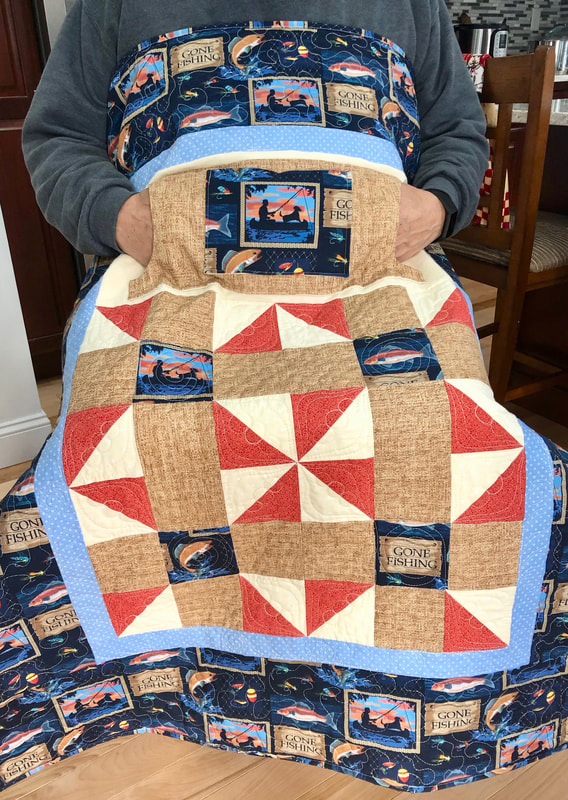 Gone Fishing Lovie Lap Quilt with Pockets , wheelchair lap quilt.