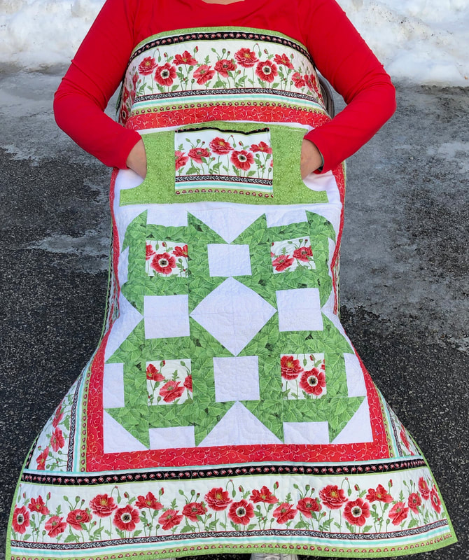 Poppies Lovie Lap Quilt with Pockets, great wheelchair quilt!