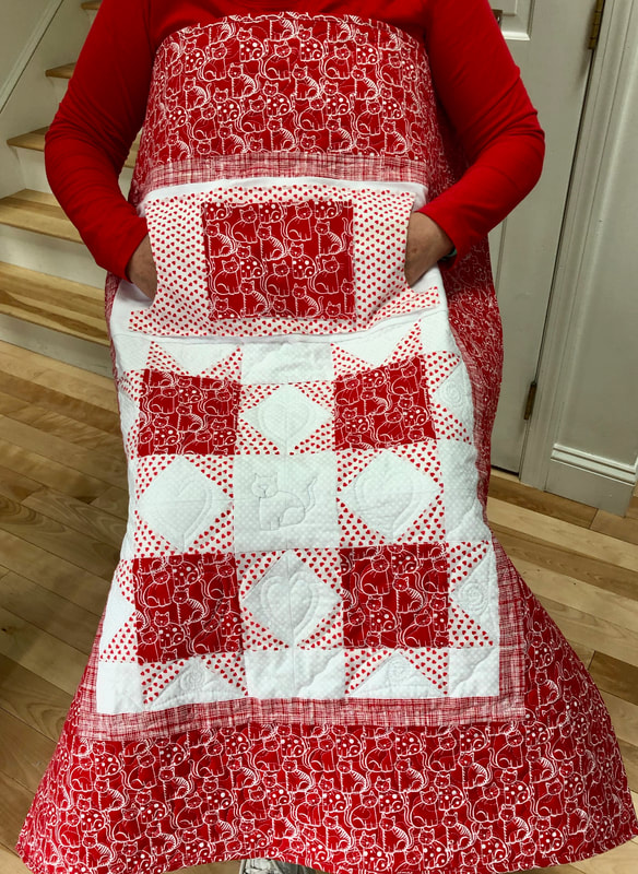 Red and White Cat Lovie Lap Quilt with Pockets, great for wheelchairs.