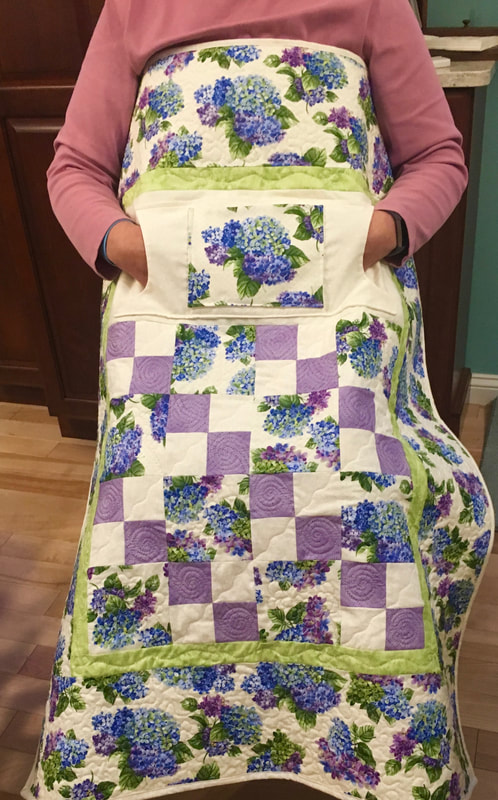 Hydrangea Lovie Lap Quilt with Pockets, wheelchair quilt for sale from http://www.HomeSEwnByCarolyn.com