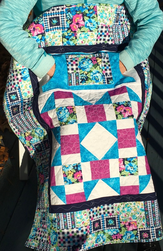 Teal, white and Pink Lovie Lap Quilt with Pockets from http://www.HomeSewnByCarolyn.com