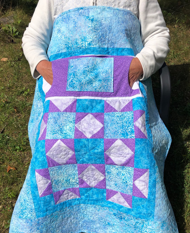 Teal and Purple Lovie Lap Quilt with Pockets