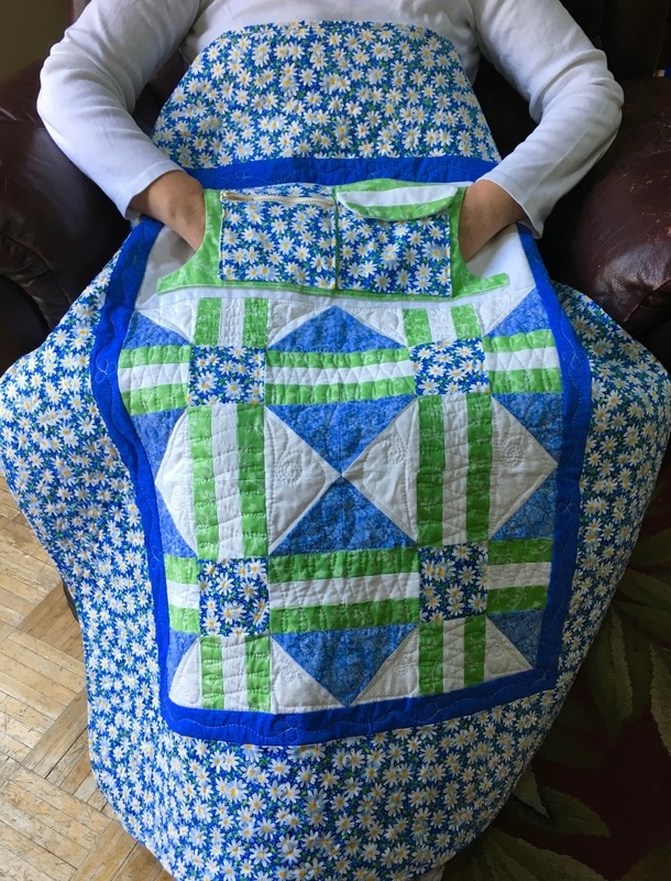 Dementia Lovie Lap Quilt with Pockets from http://www.HomeSewnByCarolyn.com