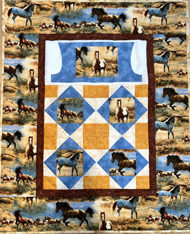 Beautiful Horse Lovie Lap Quilt with Pockets