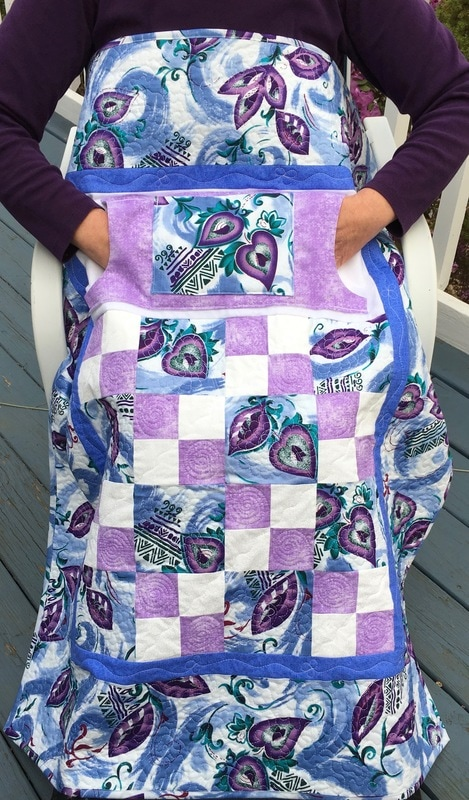 Lavender Lovie Lap Quilt with Pockets for sale from http://www.HomeSewnByCarolyn.com