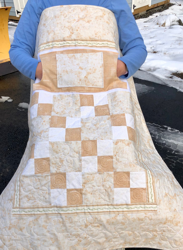 Champagne Roses Lovie Lap Quilt with Pockets