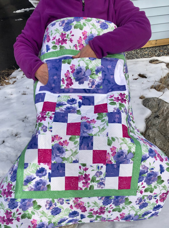 Lavender Roses Lovie Lap Quilt with Pockets, wheelchair quilt.