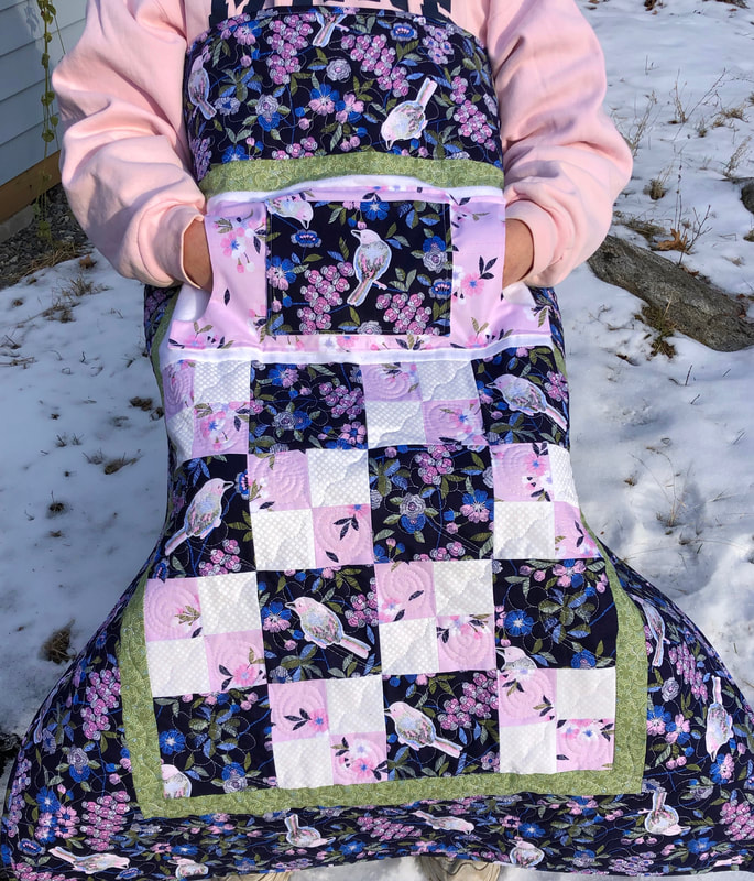 Navy and Blue Lovie Lap Quilt with Pockets