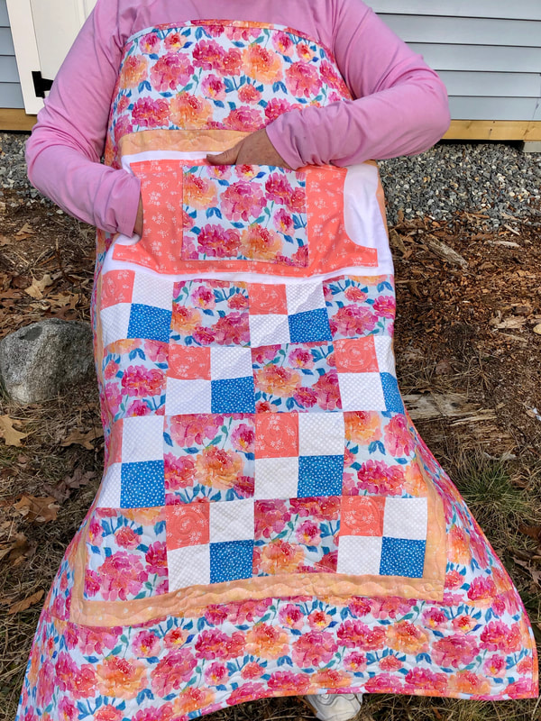 Peonies Lovie Lap Quilt with Pockets, wheelchair lap quilt for sale from http://www.HomeSewnByCarolyn.com/lovie-lap-quilts.html