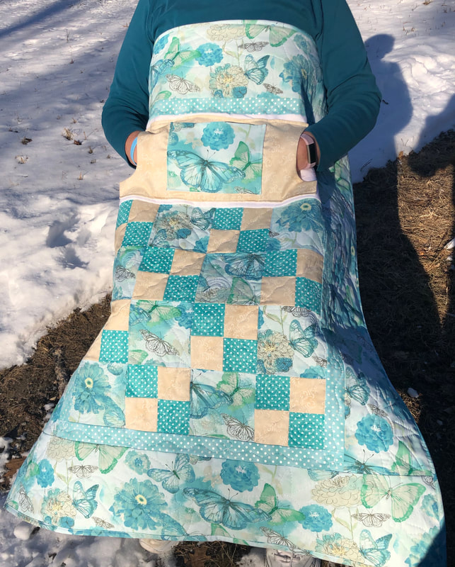 Teal Butterflies Lovie Lap Quilt with Pockets