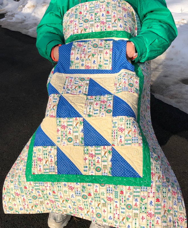 Mah-Jongg Lovie Lap Quilt with Pockets