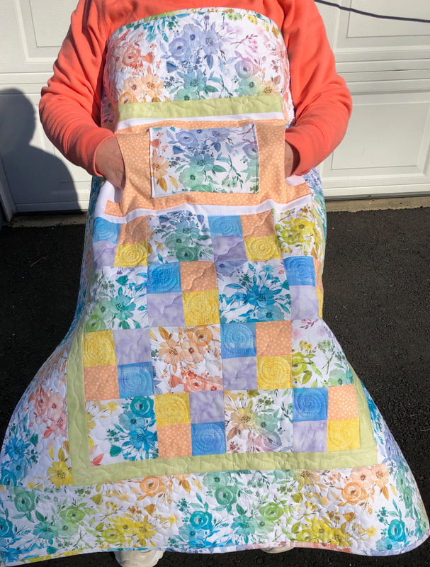 Ready for Spring Lovie Lap Quilt with Pockets, wheelchair quilt for sale.
